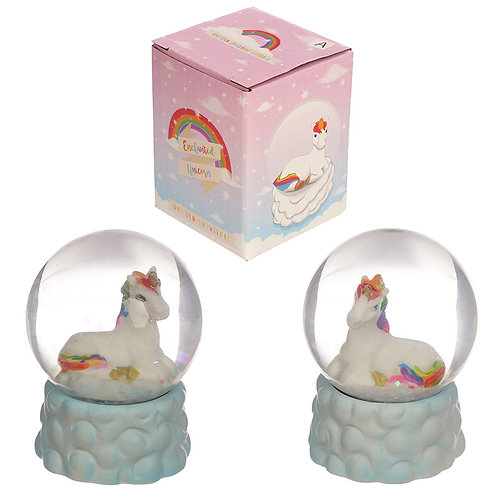 Collectable Rainbow Unicorn Snow Globe Ornament Novelty Gift