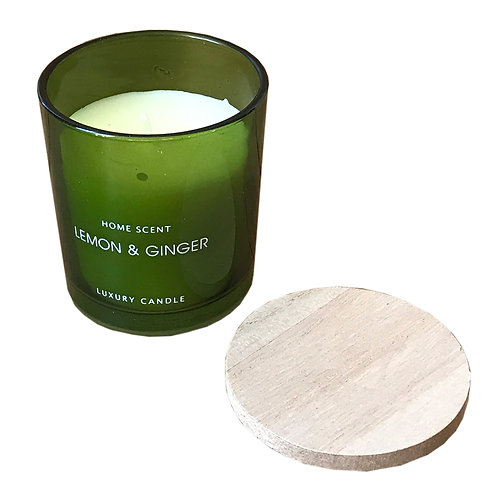 Green Glass Candle With Wooden Lid - Lemon And Ginger Shipping furniture UK