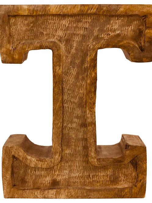 Hand Carved Wooden Embossed Letter I Shipping furniture UK