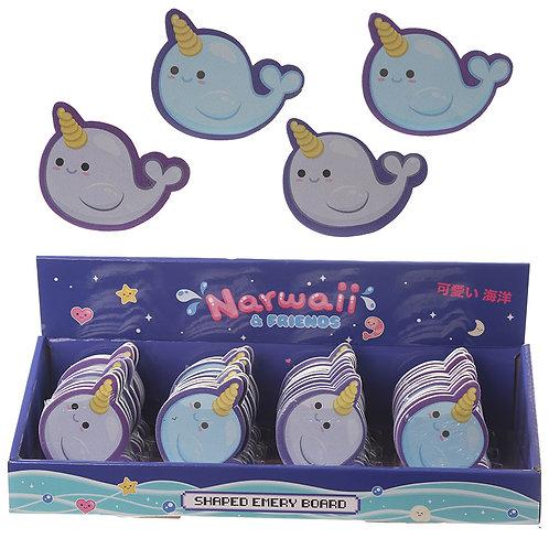 Fun Nail File Emery Board - Cute Narwhal Design Novelty Gift