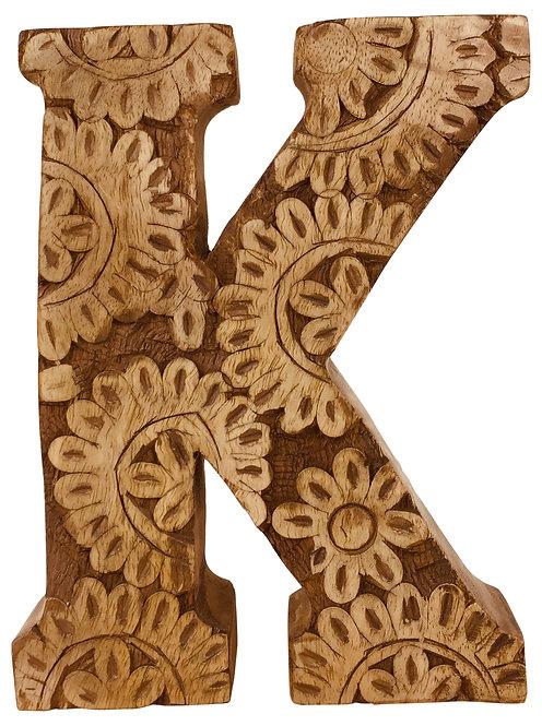 Hand Carved Wooden Flower Letter K Shipping furniture UK