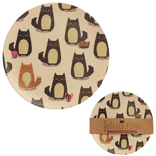 Bamboo Composite Feline Fine Cat Plate Novelty Gift