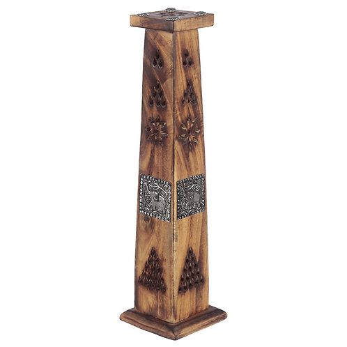 Decorative Elephant Inlay Wooden Tower Incense Burner Box Novelty Gift
