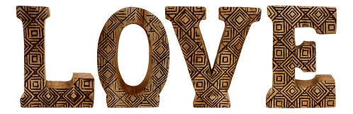 Hand Carved Wooden Geometric Letters Love Shipping furniture UK
