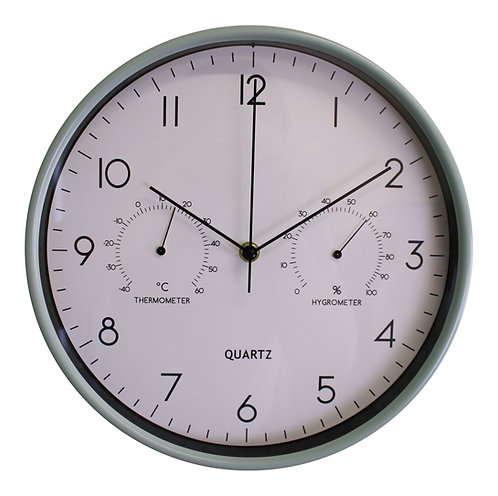Green Wall Clock 30cm with Thermometer/Hygrometer Shipping furniture UK