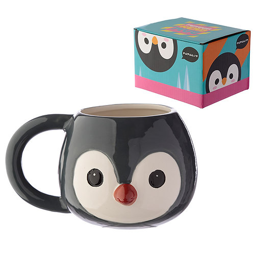Ceramic Animal Shaped Head Mug - Penguin Novelty Gift