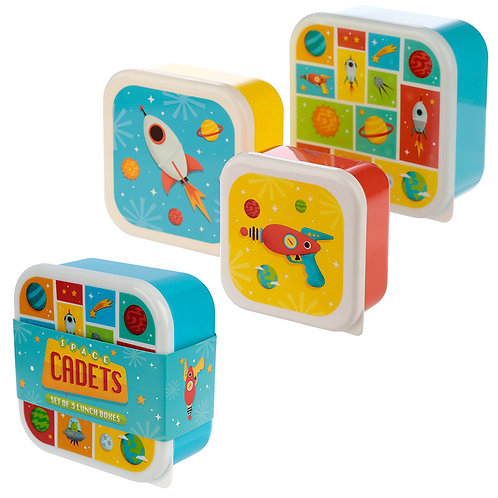 Fun Space Design Set of 3 Plastic Lunch Boxes Novelty Gift