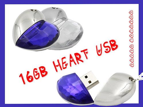16GB Deep Blue Heart Novelty USB Flash Pen Drive