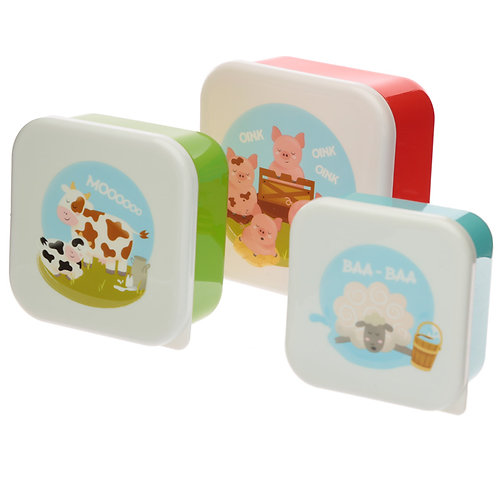 Bramley Bunch Farm Set of 3 Plastic Lunch Boxes Novelty Gift