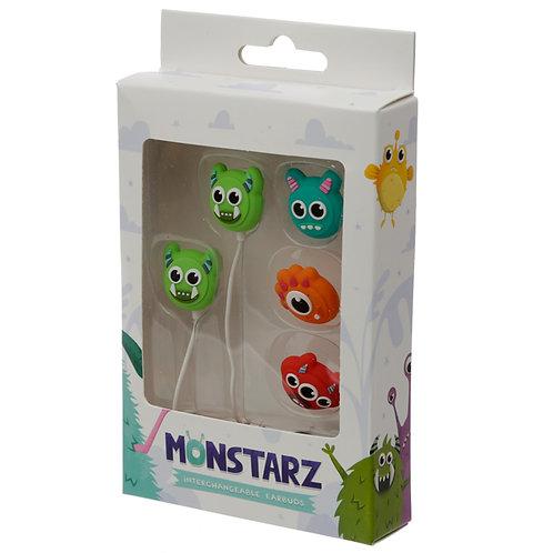 Funky Earphones with 4 Interchangeable Earbuds - Monster Monstarz Novelty Gift