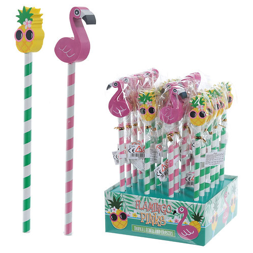 Cute Tropical Design Pencil and Eraser Set Novelty Gift [Pack of 2]