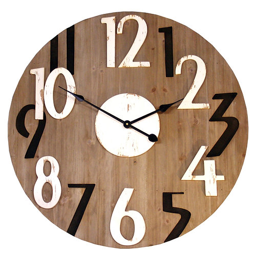 Black and White Numbered Wooden Clock Shipping furniture UK