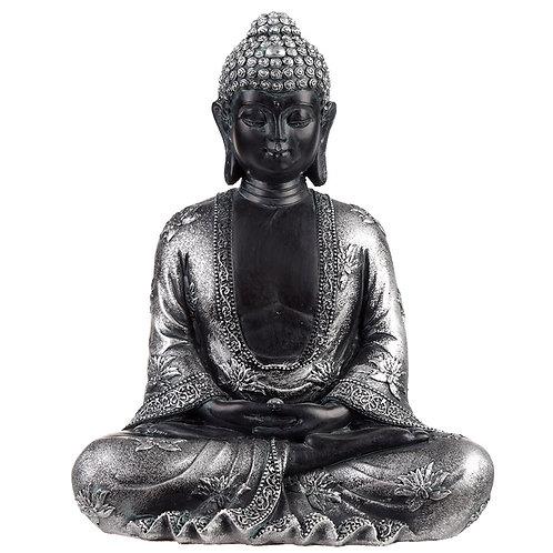 Decorative Black & Silver Thai Buddha - Peace Novelty Gift