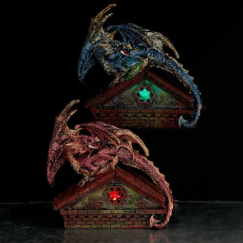 Stained Glass Window Roof Top LED Dark Legends Dragon Figurine Novelty Gift