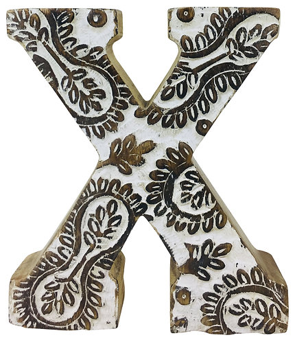 Hand Carved Wooden White Flower Letter X Shipping furniture UK