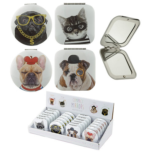 Novelty Gift Fun Cat and Dog Meow and Woof Compact Mirror