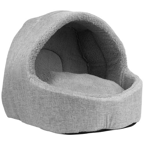 Soft Fleece Cat Igloo Bed - Grey | Home Essentials UK