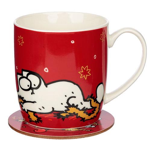 Christmas Porcelain Mug & Coaster Set - Simon's Cat Novelty Gift