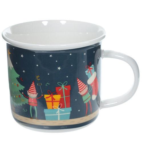 Enamel Mug Shape New Bone China Mug - Christmas Elf Novelty Gift