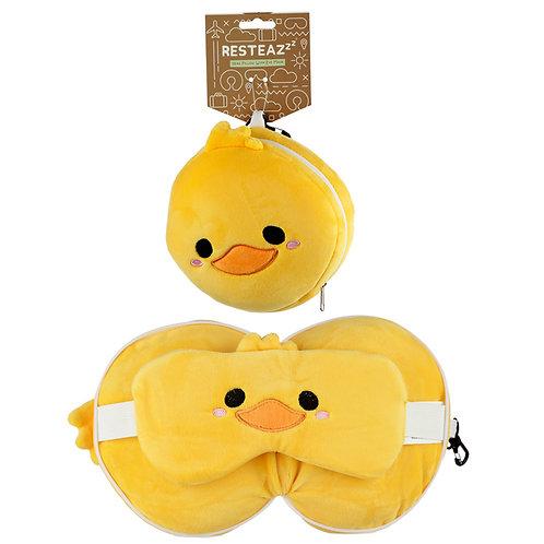 Cutiemals Duck Relaxeazzz Plush Round Travel Pillow & Eye Mask Set Novelty Gift