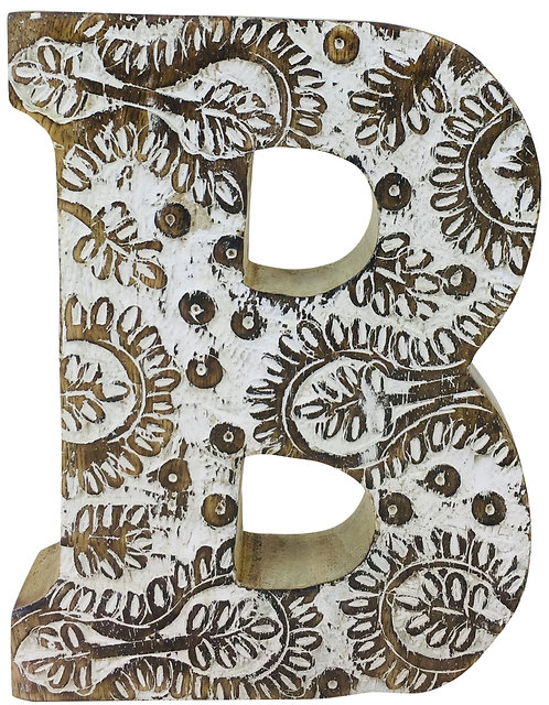 Hand Carved Wooden White Flower Letter B Shipping furniture UK