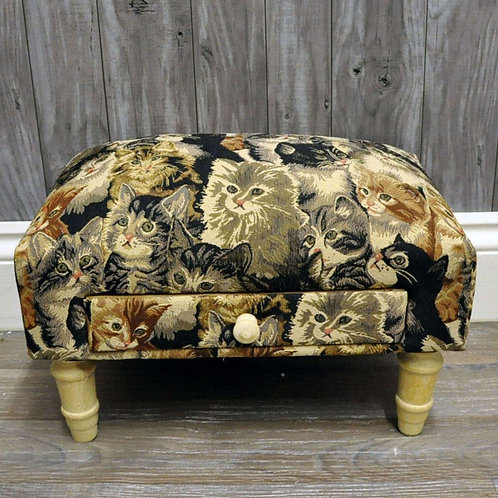 Cat Fabric Footstool with Drawer Shipping furniture UK