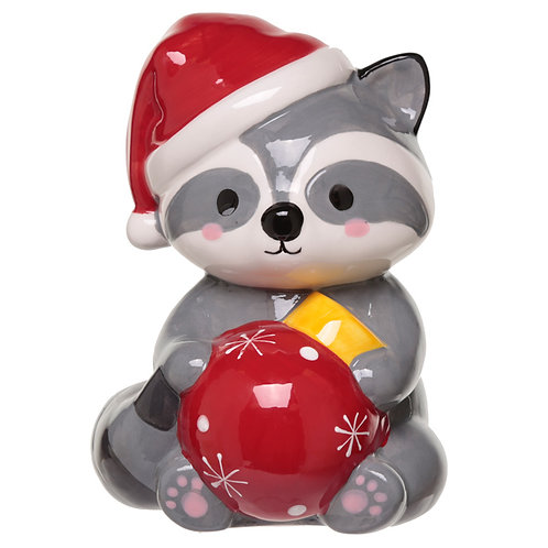 Collectable Ceramic Racoon Christmas Money Box Novelty Gift