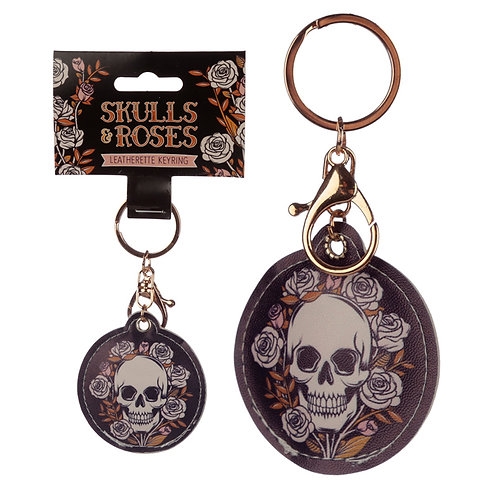 Fun Leatherette Skulls and Roses Keyring Novelty Gift