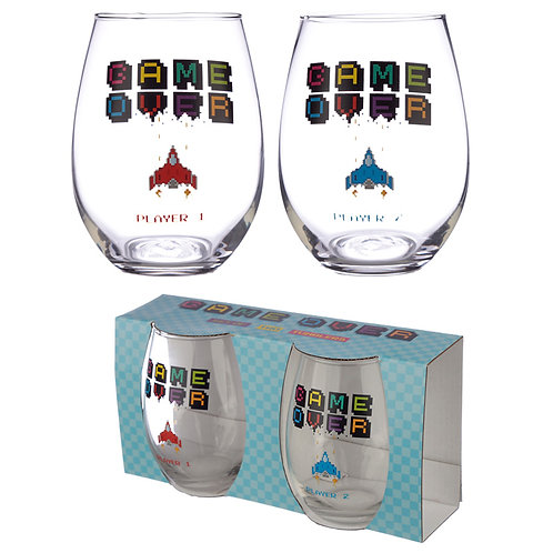 Fun Game Over Gaming Glass Tumbler Set of 2 Novelty Gift
