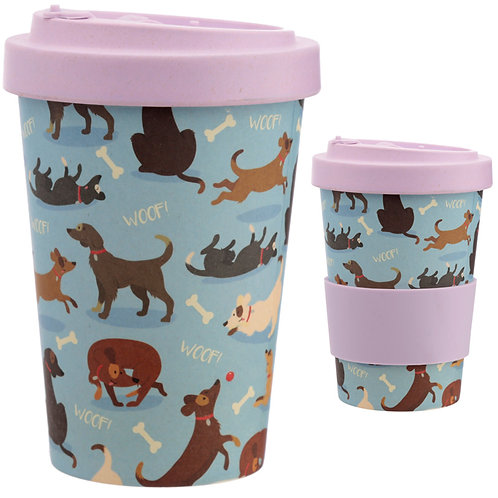 Bamboo Composite Catch Patch Dog Screw Top Travel Mug Novelty Gift