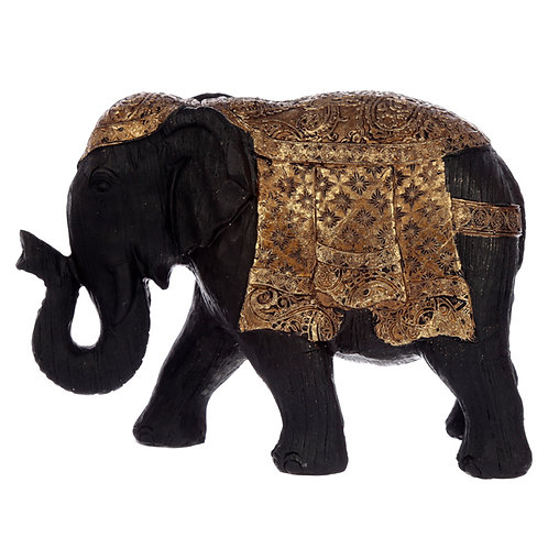 Decorative Thai Brushed Black and Gold Small Elephant Novelty Gift