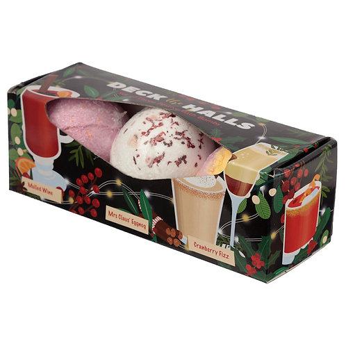 Handmade Bath Bomb Set of 3 - Christmas Cocktails Novelty Gift