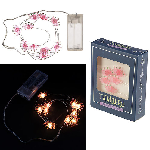 Novelty Gift Decorative LED Light String - Pink Crowns