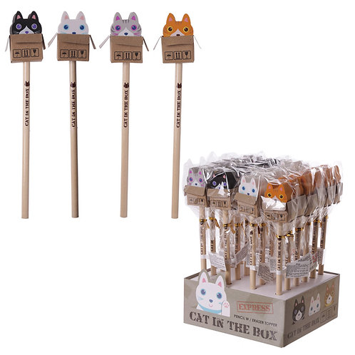Novelty Gift  Kids Cat in a Box Design Pencil and Eraser [Pack of 2]