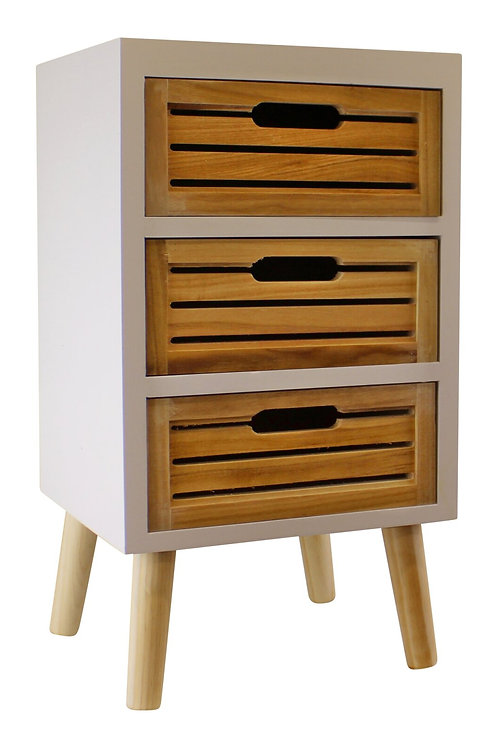 3 Drawer Unit In White With Natural Wooden Drawers Shipping furniture UK