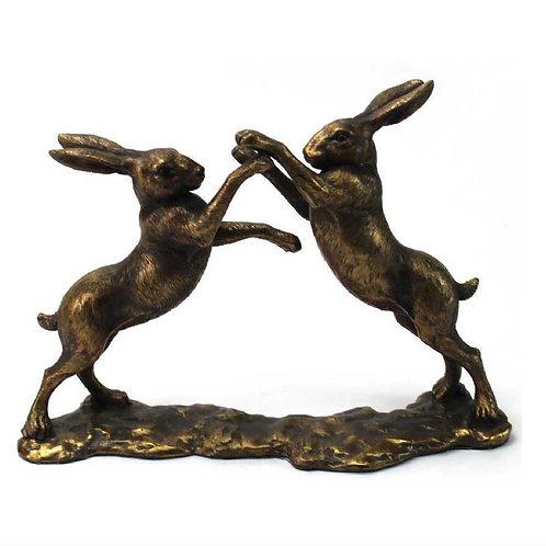 Bronzed Boxing Hares 27cm Shipping furniture UK