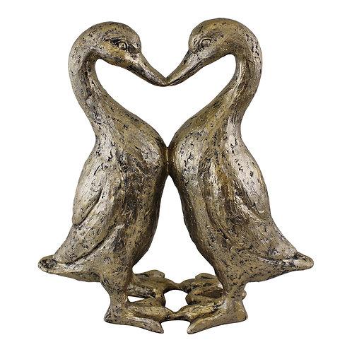 Gold Resin Kissing Ducks Heart Ornament Shipping furniture UK