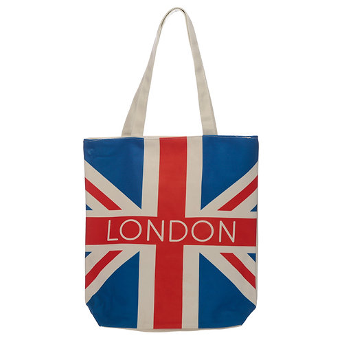 Handy Cotton Zip Up Shopping Bag - London Union Jack Flag Novelty Gift