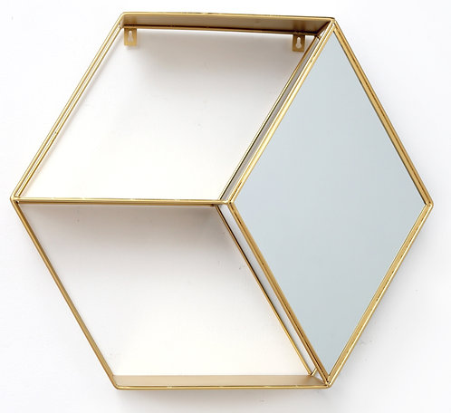 Hexagon Golden Mirror Unit Shipping furniture UK