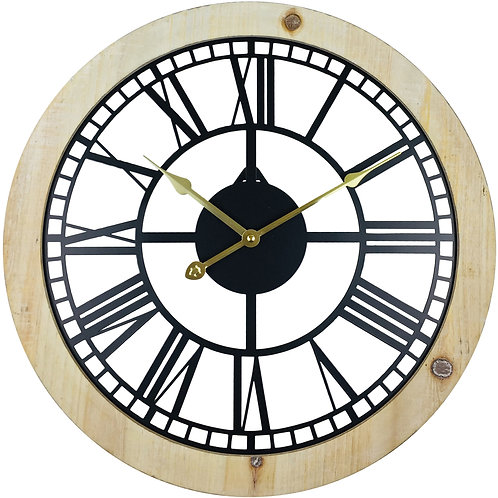 Roman Numeral Black Metal Cut Out Wall Clock 45cm Shipping furniture UK