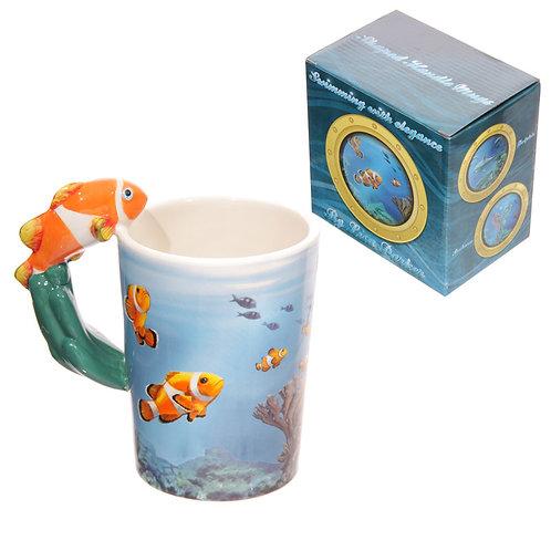 Novelty Sealife Design Clown Fish Shaped Handle Ceramic Mug Novelty Gift