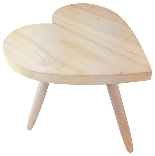 Natural Wooden Heart Stool 40cm Shipping furniture UK