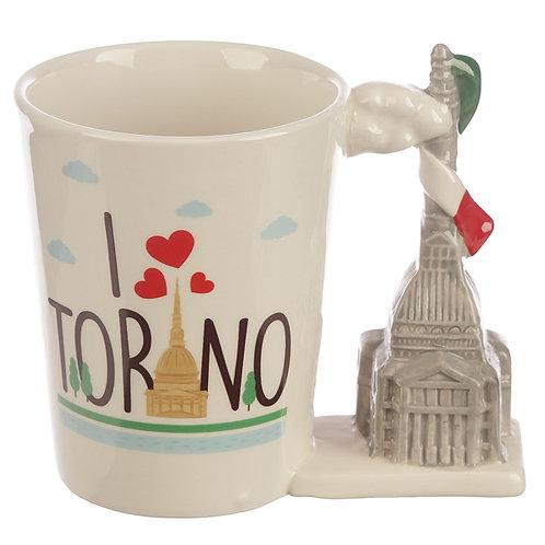 Collectable Torino Shaped Handle Ceramic Mug Novelty Gift