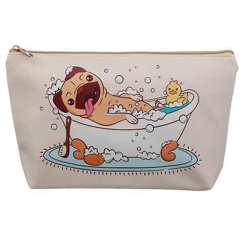 Large PVC Make Up Toiletry Wash Bag - Mopps Pug Novelty Gift