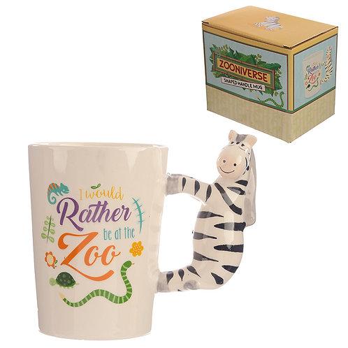 Collectable Shaped Handle Mug -  Zebra Novelty Gift