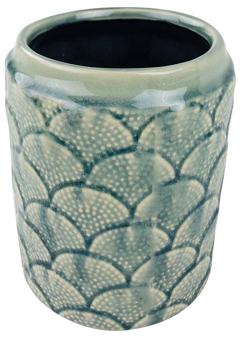 Blue Ceramic Textured Vase 18cm Shipping furniture UK