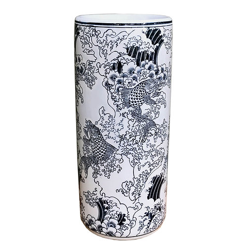 Ceramic Embossed Umbrella Stand, Blue/White Koi Design Shipping furniture UK