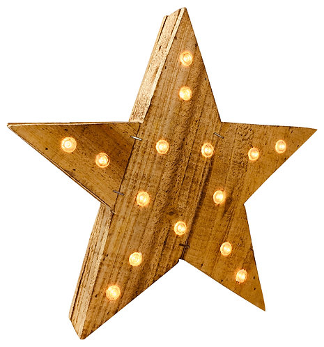 Rustic Solid Wood LED Star 30cm Shipping furniture UK