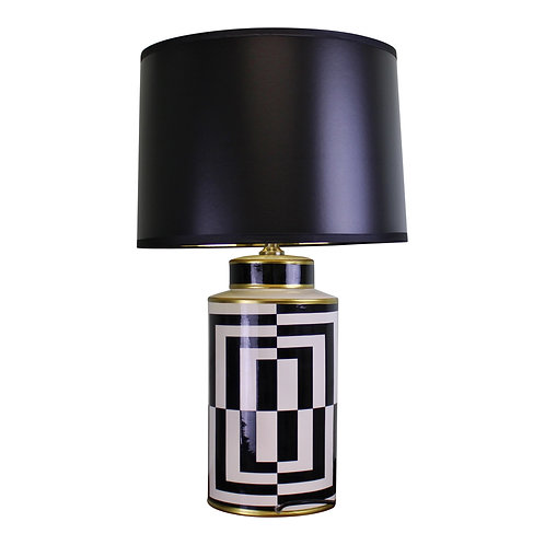 Black/White/Gold Ceramic Lamp, Geometric Design 66cm Shipping furniture UK