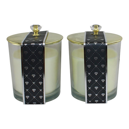 Set of 2 Glass Candle Jars with Diamond Style Lids Shipping furniture UK